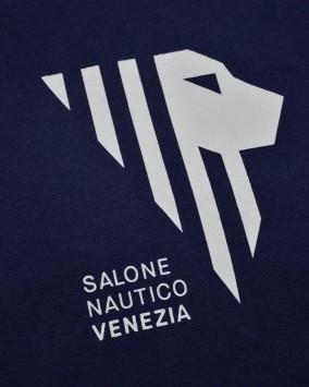 T-shirt donna blu dettaglio logo salone nautico