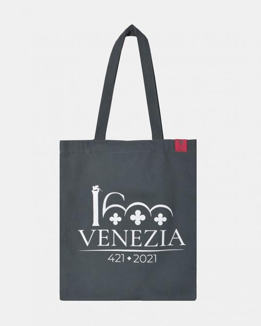 Shopper grigio logo Venezia 1600 bianco fronte
