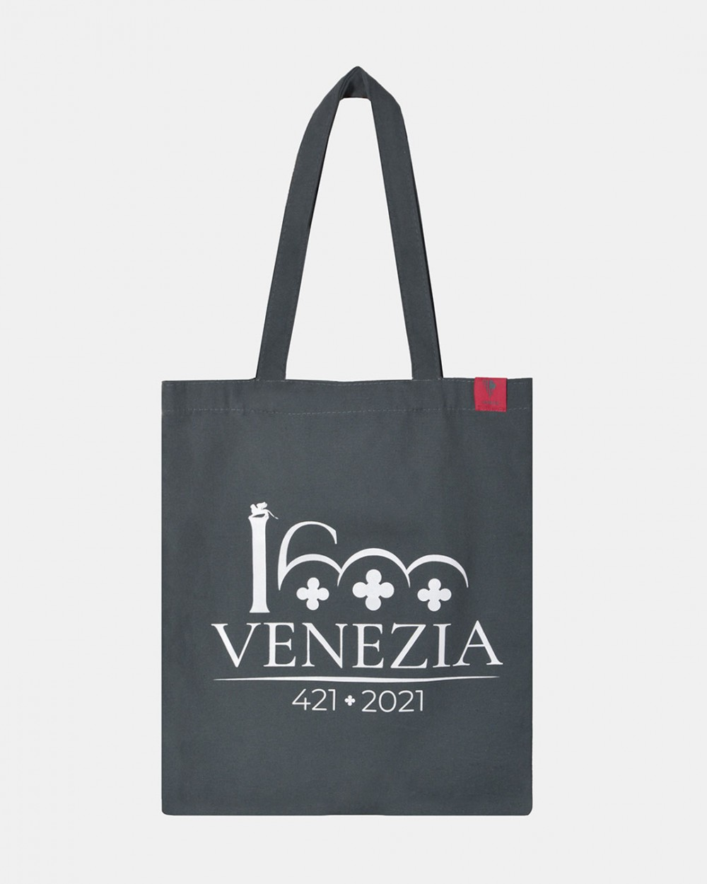 Grey shopper white Venezia 1600 logotype front