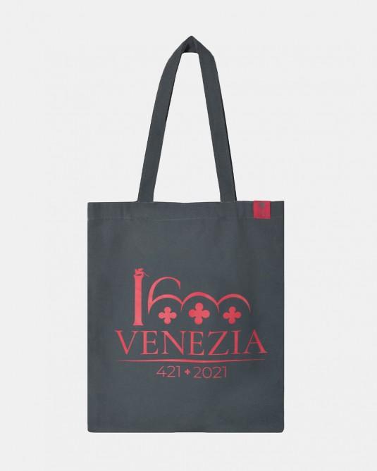 Shopper grigio logo Venezia 1600 rosso scuro fronte