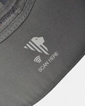 Dark grey baseball cap red stylised lion Venezia logotype nfc detail