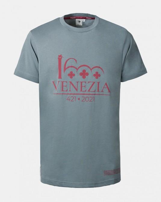 T-shirt grigio scuro logo Venezia 1600 rosso scuro fronte