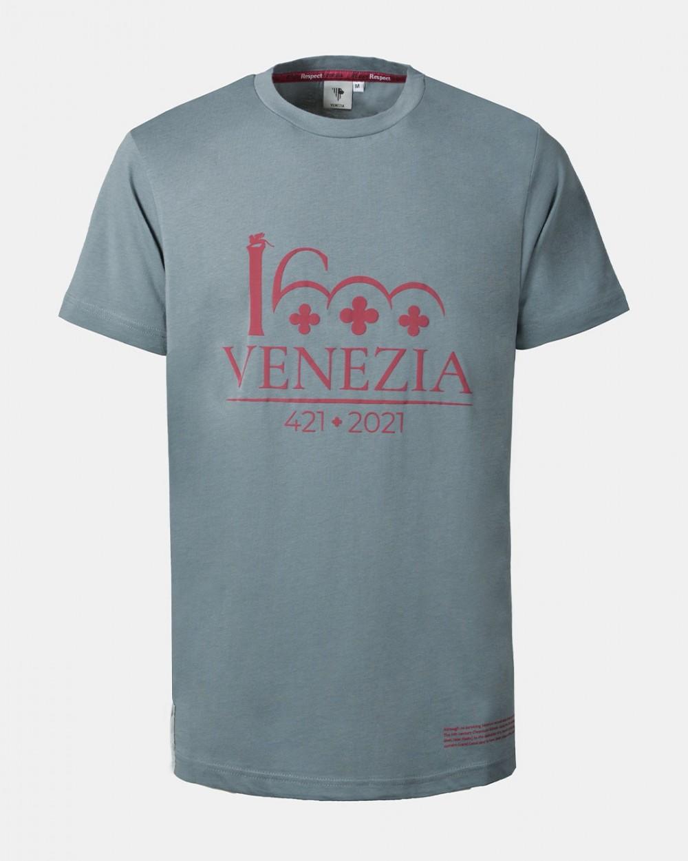Dark red t-shirt dark red Venezia 1600 logotype front