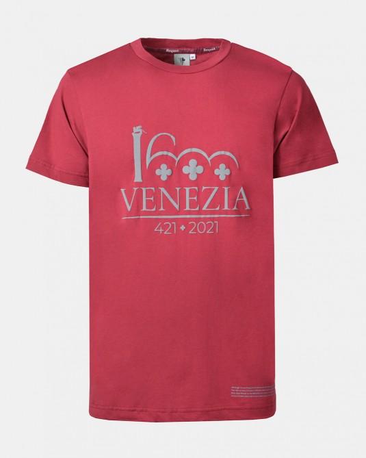 T-shirt rosso scuro logo Venezia 1600 grigio fronte
