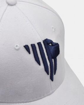 Baseball cap bianco dettaglio logo leone