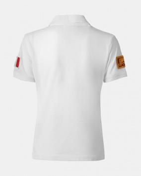 Women's white polo back