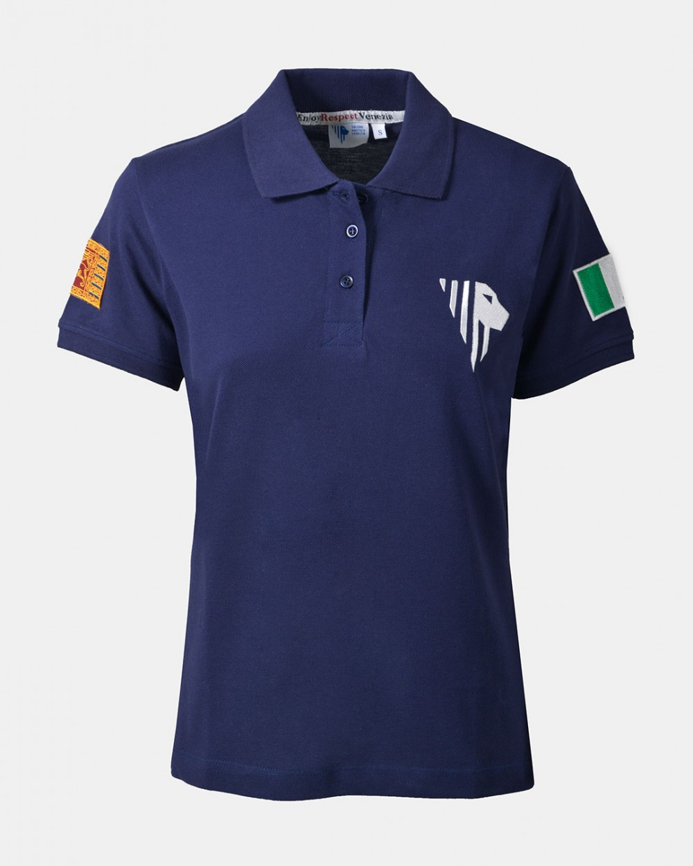 Women's blue polo front