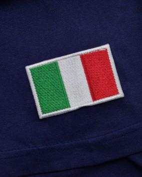 T-shirt donna blu dettaglio bandiera italiana